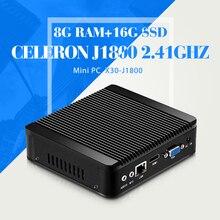 Mini pc N2830 N2840 J1800 8 Г RAM 16 Г SSD WIFI безвентиляторный Box PC Тонкий клиент компьютер Настольные Компьютеры i5 промышленных компьютер