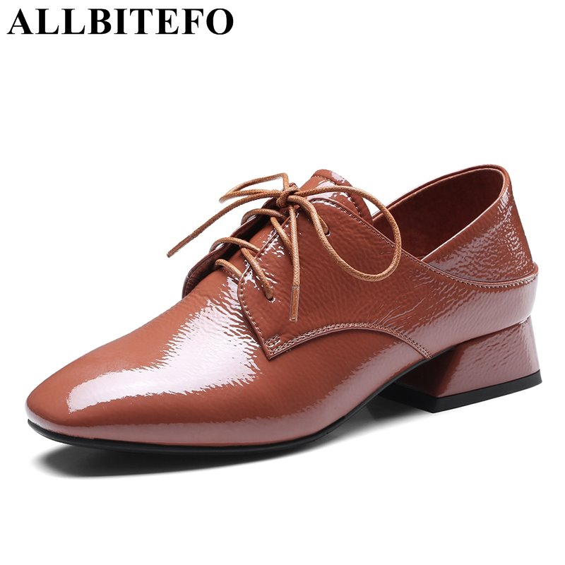 ALLBITEFO square toe real genuine leather square toe thick heel women pumps fashion brand high heels gilrs high heel shoes