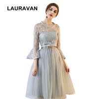evening short grey tulle gray tea length women dresses with jackets wrap sleeves lace. party dress happiness ball gown