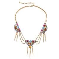Kleurrijke Zirkoon Ketting Geometrische Spike Charm Bohemian Ketting Sieraden 2016 Zomer Nieuwe Mode