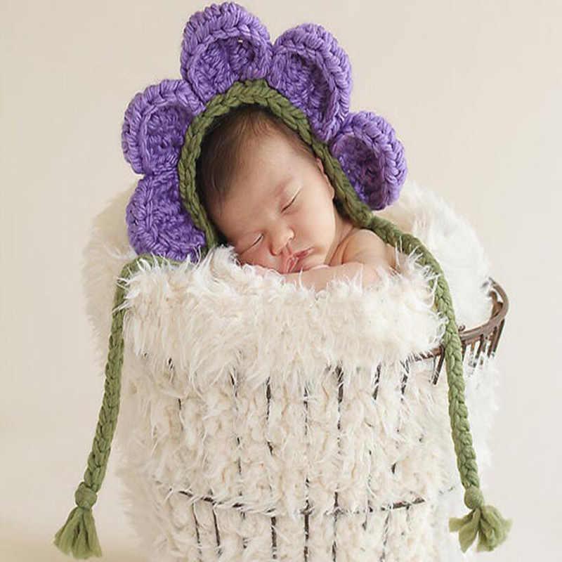 7c511ffc3 ... Newborn Unisex Twin Baby Girl Boy Crochet Flower Hat Picture Photo  Shoot Props Infant Baby Cute
