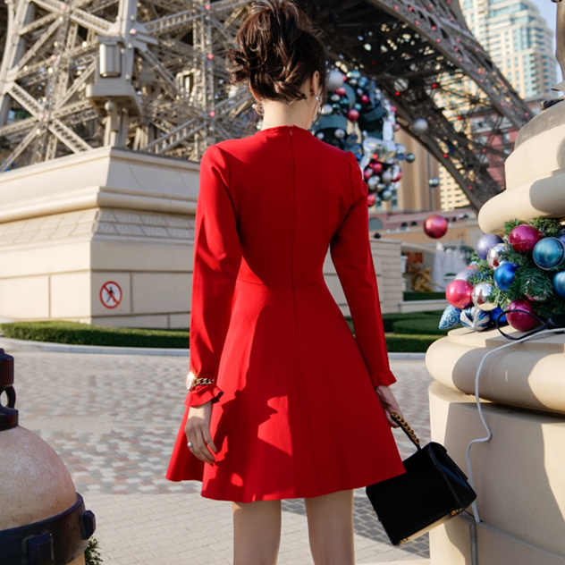 685ea6400408 ... Vintage Red Dresses Women 2018 Autumn Korean Elegant Ruffles Slim Waist  Long Sleeve Dress Black vestido ...