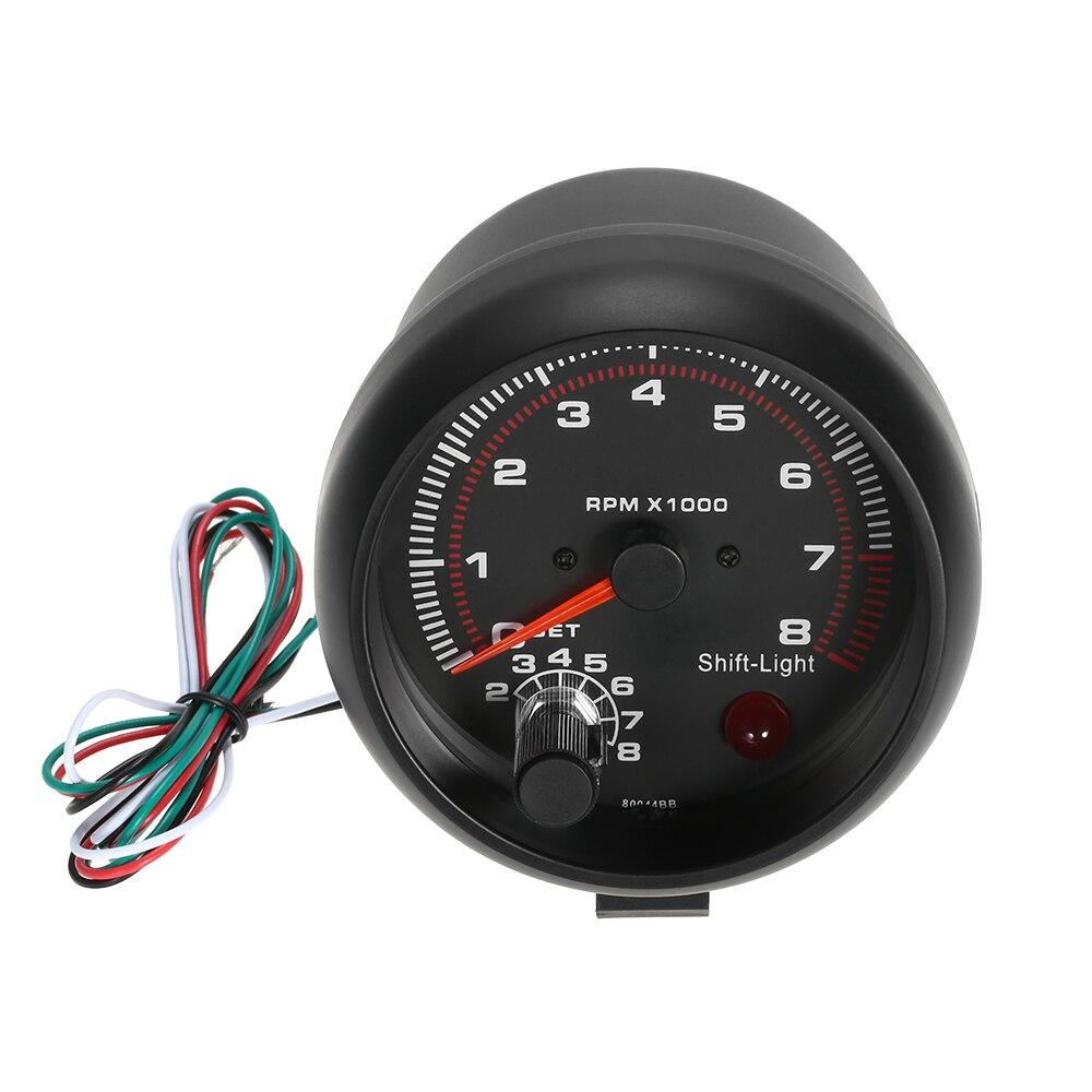 3.75 Voiture Universel Noir Tachymètre Jauge Blanc Inter léger Décalage 0-8000 RPM