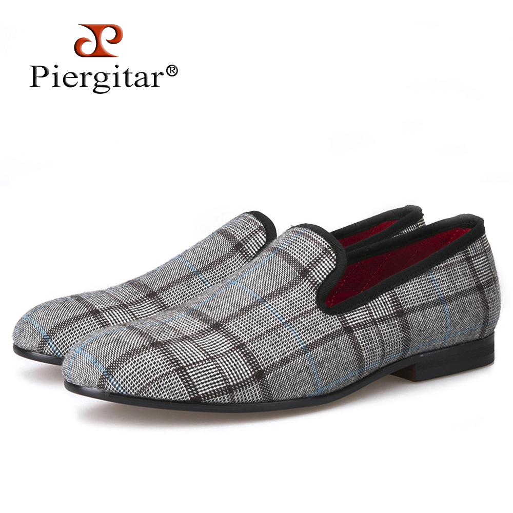 Piergitar New British style Gingham Gray handmade Men's Flats Men Slip-On party and prom Loafers Men Casual Shoes Size 4-17 new five colors men special hemp handmade shoes men plus size slip on party and prom loafers fashion men flats size 4 17