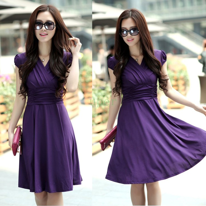 ed7916ef072a Women Sexy Silk V Neck Dress Short Sleeve Casual Empire Waist Dress 2015  New Arrival Hot Sale-in Dresses from Women's Clothing on Aliexpress.com |  Alibaba ...