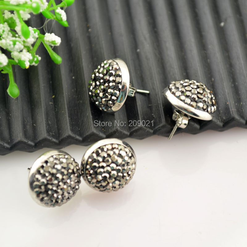 ~ 12mm Silver Pave Rhinestone Crystal Stud Earrings Jewelry Making 10pair/lot