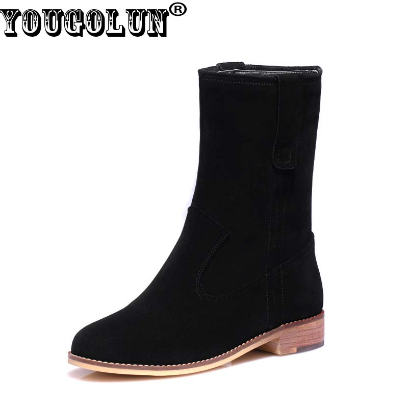 купить YOUGOLUN - Women Lowland Ankle Boots Autumn Cow Suede Square Heel 3 cm Shoes #Y-127 недорого