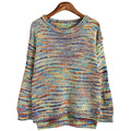 Christmas Sweater Autumn Winter women sweaters and pullovers rainbow Color O-Neck Knitted Sweater Plus Size  XZMY107