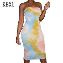 KEXU Women Off Shoulder Strapless Sexy Dresses Sleeveless Straight Bodycon Printed Dress Casual Summer Party Plus Size XXL