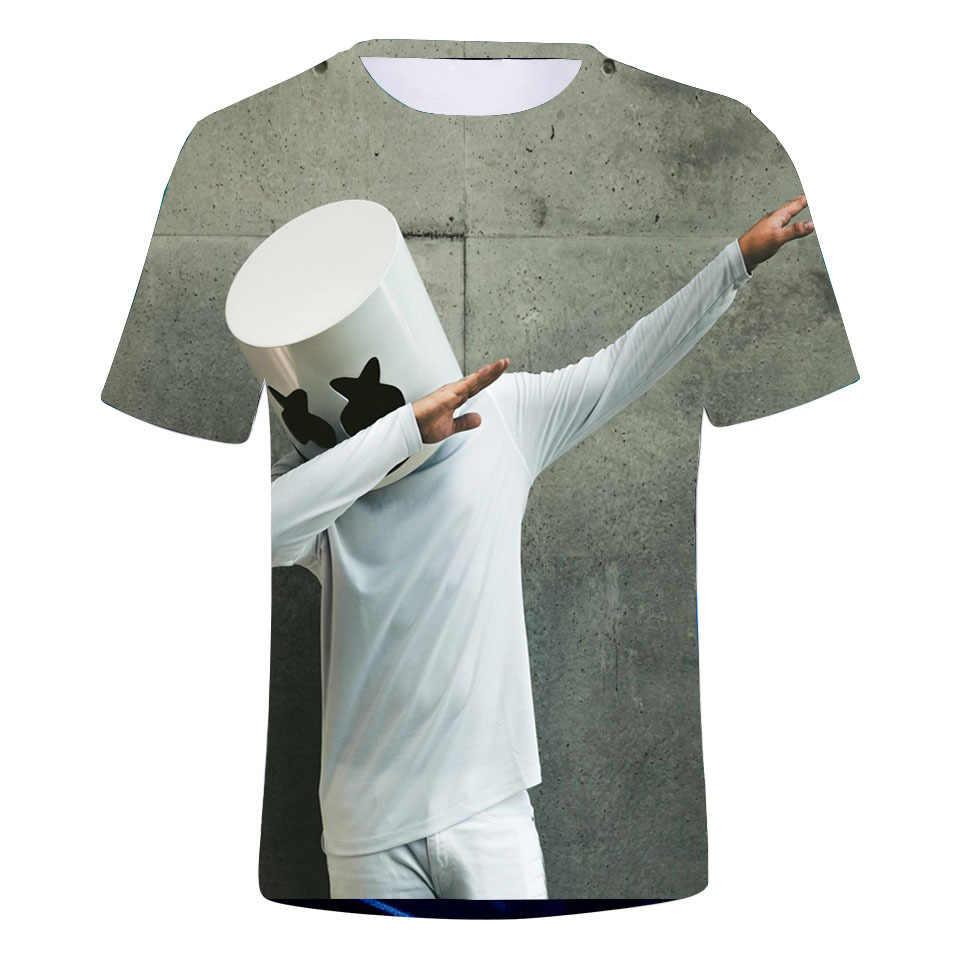 Горячая marshmello Косплей костюмы 3D печать круглый вырез Футболка женская/мужская одежда Распродажа футболка с зефиркой Повседневная Kpop плюс размер
