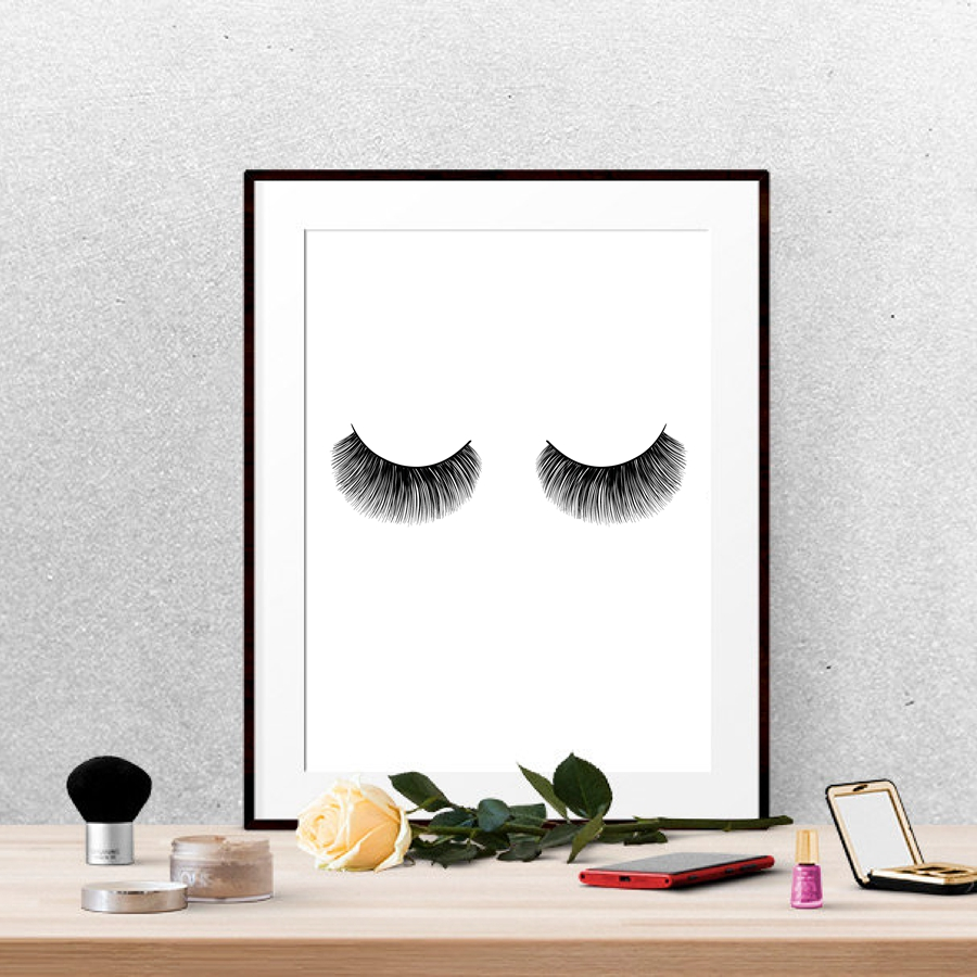 Eyelashes fashion print wall art decor modern minimalist beauty eyelashes fashion print wall art decor modern minimalist beauty product lashes poster canvas painting girl room makeup art in painting calligraphy from amipublicfo Gallery