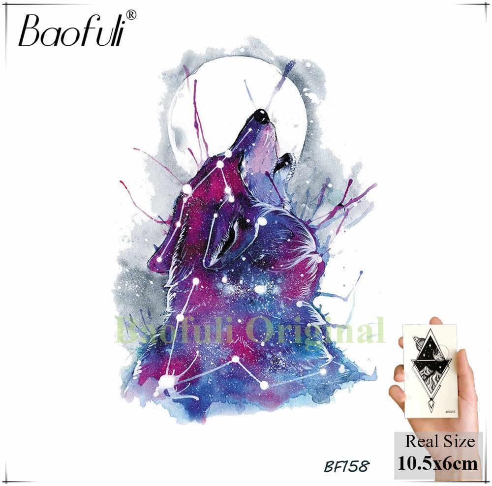 Baofuli ハスキー銀河水彩入れ墨オオカミ偽入れ墨羽 Triabl ムーンキツネ一時的なトーテムアートタトゥーステッカー女性男性