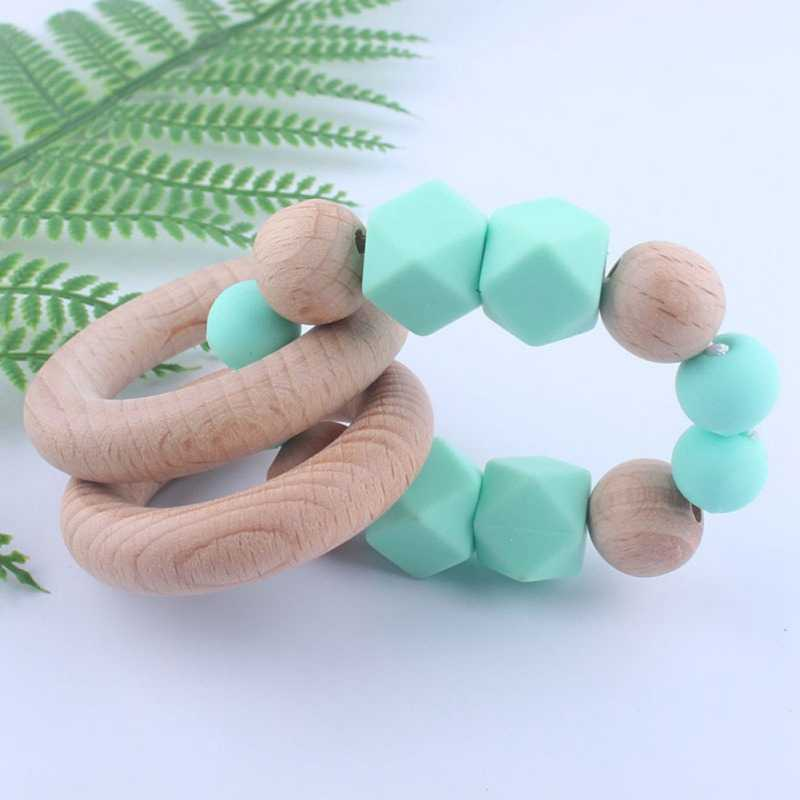 Wooden Baby Teether Bracelet Silicone Beads Teething Ring Play Chewing Toy silicone teethers for babies bpa free freezer