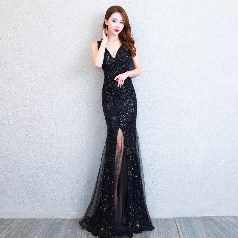 Deep V Neck Sexy Women Evening Party Dress Gown BLACK Sequins Improved Cheongsam Elegant High Split