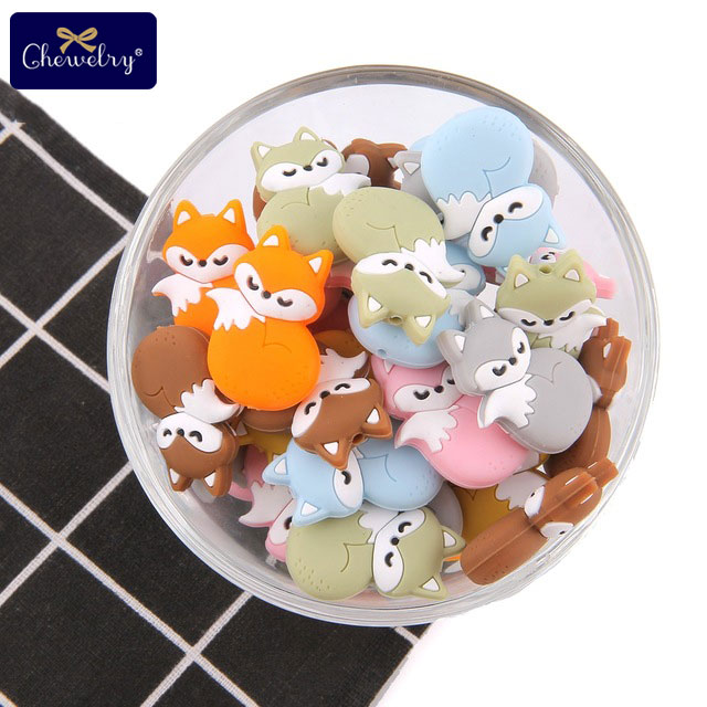 50Pcs Baby Teethers Food Grade Silicone Beads Fox Mini Car Rodent Necklace Toy DIY For Kids Pacifier Chain Nursing  Gift Goods