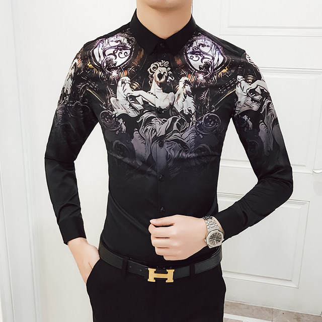 a0550deb4247 2018 Fall Black Angel Flower Men's Long-sleeved Shirts S M LXL 2XL 3XL 4XL Fashion  Casual Nightclub Slim and Elegant Man Shirt