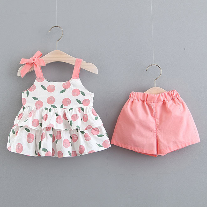 Baby Toddler Girls Summer Clothes Outfits 2-7 Years Old Kids Sleeveless Floral Vest T-Shirt and Shorts Pants Sets