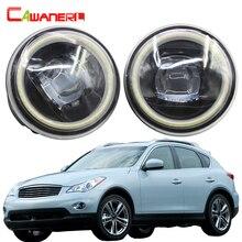 Cawanerl для Infiniti EX EX25 EX35 EX37 автомобиля 4000LM светодиодный лампы H11 противотуманных фар комплект Ангел глаз DRL 12 V 2008 2009 2010 2011 2012 2013