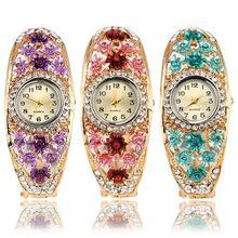2018 Popular Brand Luxury Women\'s Flower Golden Color Crystal Bracelet Analog Q