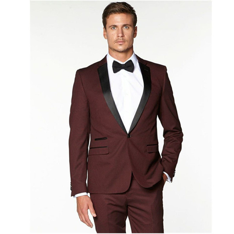 New men suit Groomsmen Notch Black Lapel Groom suit Tuxedos Burgundy Wine red Mens Suits 2019 wedding suits for men