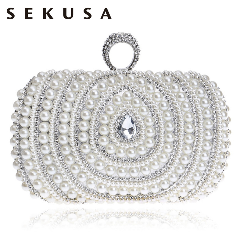 SEKUSA Diamonds Finger Ring Fashion Women Bag Chain Shoulder Handbag Beaded Wedding Party Clutch Purse Bag 2017 120cm diy metal purse chain strap handle bag accessories shoulder crossbody bag handbag replacement fashion long chains new