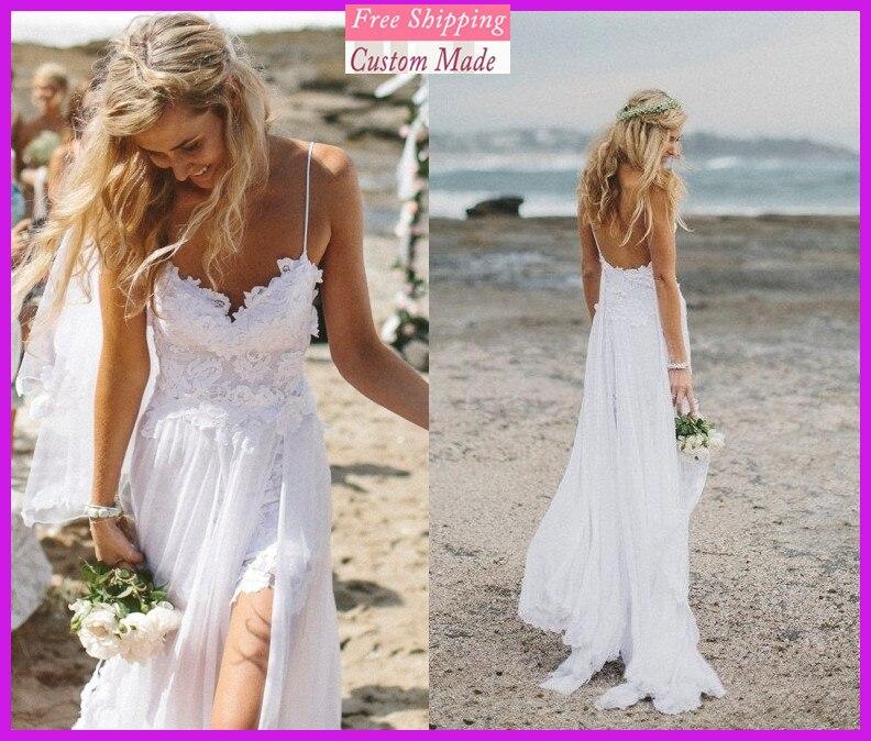 Greek Style Boho Bohemian Wedding Dresses Spaghetti Straps: Beach Wedding Dresses Spaghetti Straps Appliques Low Back