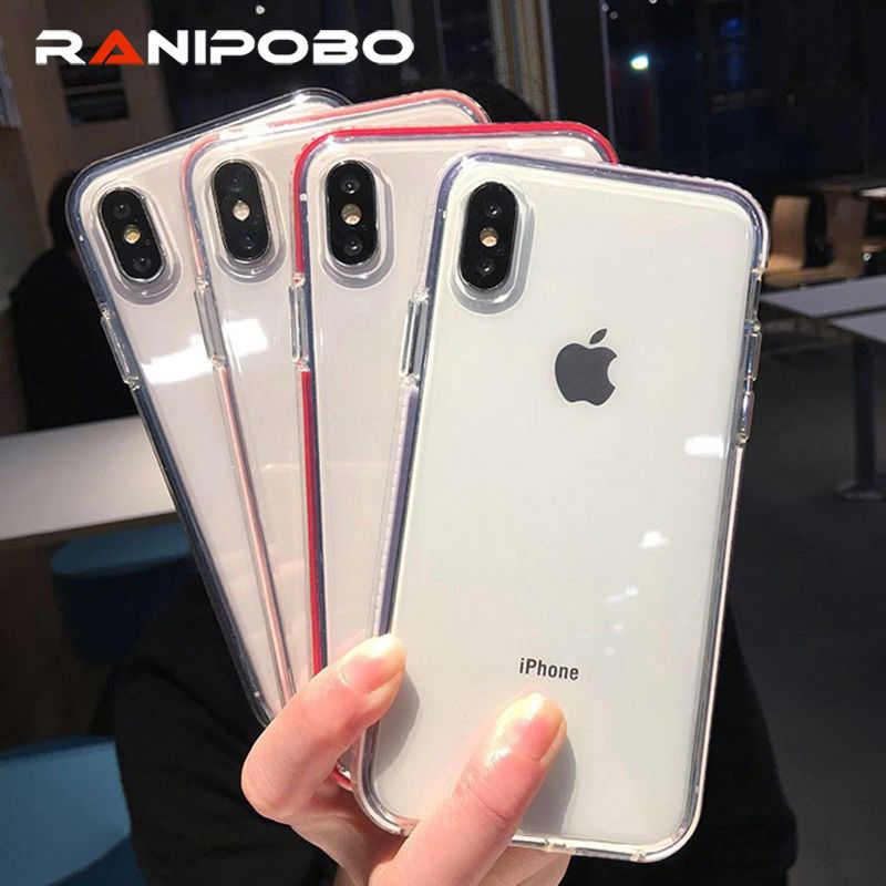 الملونة شفافة للصدمات إطار الهاتف حقيبة لهاتف أي فون X XS XR XS ماكس 8 7 6 6 S زائد الفاخرة لينة TPU حماية الغطاء الخلفي