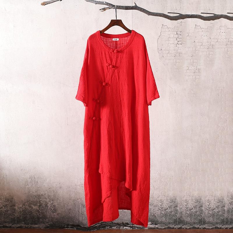 Cotton Red Hippie Ethnic Loose purple red Dresses Robe Tunique Boho Short Femme Wine Sleeved navy Casual Blue Linen Vintage Size Female Original Dress Women rFrHnP