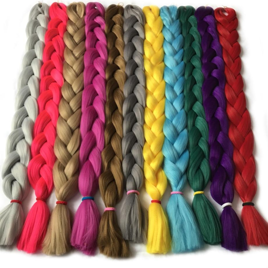 VERVES Syntetisk Braiding Hair kanekalon 82 tum 165g / st Jumbo Braid Bulk African Hair Crochet Hårförlängningar, yaki konsistens