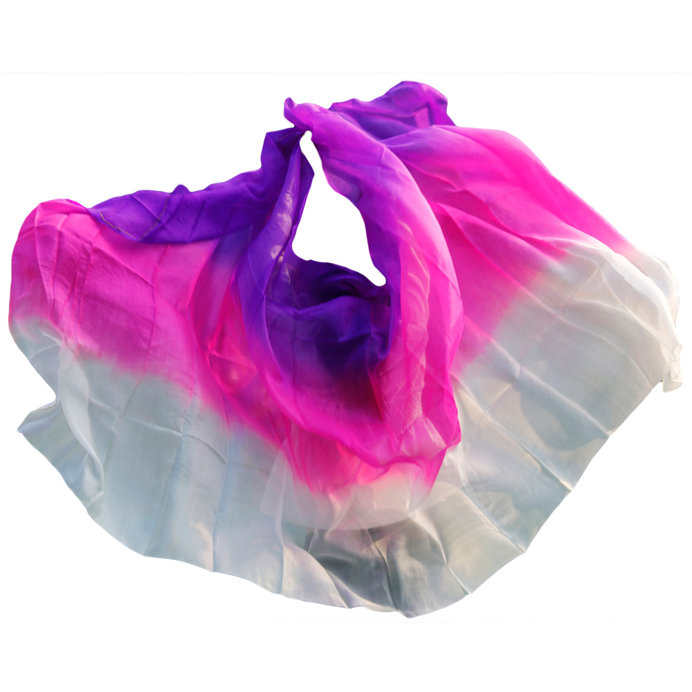 100% Silk Stage Performance Dancewear Accessories Tie Dye Light Texture Veil Shawls Belly Dance Veils purple rose white