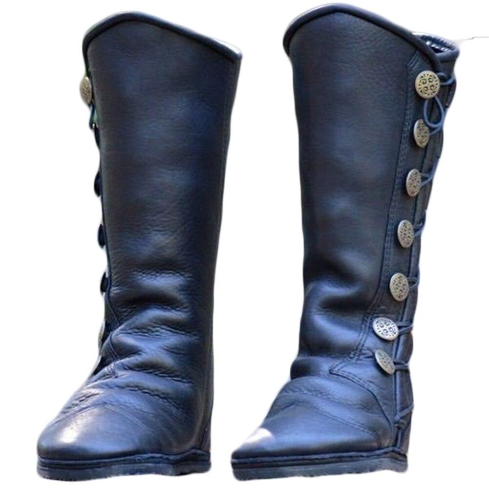 Bottes d'équitation femmes chaussures talons bas bout rond filles genou haut Martin chaussons croix attaché ceintures en cuir métal bouton décorer chaussures