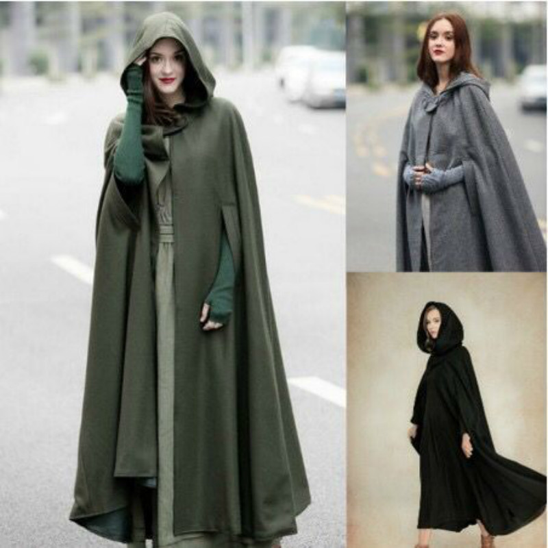 New Arrival Women Hooded Coat Hooded Cloak Hooded Cape cosplay Cloak 3 colours medieval costumes adult costume dress up
