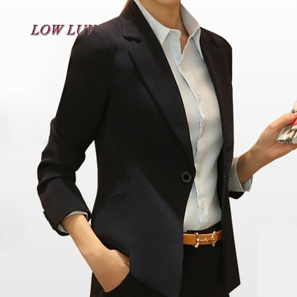 2017 Female Casual Suit ol Office Solid Slim Fit Blazer Women Notched Formal Work Jacket Design Black gray Blazer high quality