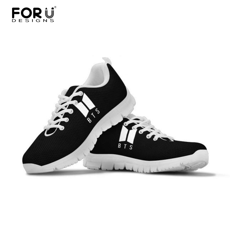 FORUDESIGNS BTS Women Sneakers Light Mesh Shoes Flat Sneakers Shoes Casual Breathable Female Shoes Girls Lace up Leisure Shoes pinsen fashion women shoes summer breathable lace up casual shoes big size 35 42 light comfort light weight air mesh women flats
