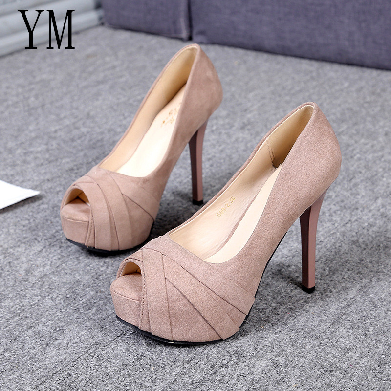 Hot Sale Platform Shoes Woman Peep Toe 12CM High Heels Pumps Sexy Nude Women Shoes High Heels Fashion Wedding Bridal Shoes 35-39Hot Sale Platform Shoes Woman Peep Toe 12CM High Heels Pumps Sexy Nude Women Shoes High Heels Fashion Wedding Bridal Shoes 35-39