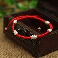 S925 Prata Esterlina Talão Transporte Sorte Corda Vermelha Pulseira Shambala Handmade Pulseira Corda Cera Amuleto Jóias de Alta Qualidade