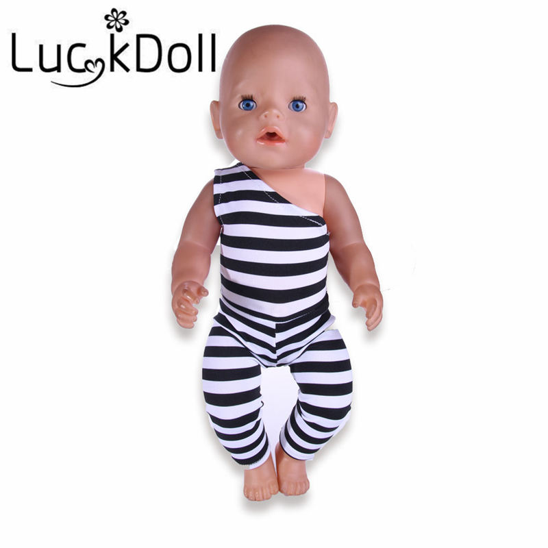 Luckdoll Slash Neck Bodysuit for 18 inch American Girl Doll or 43 cm Baby Born Doll Accessories for Dolls