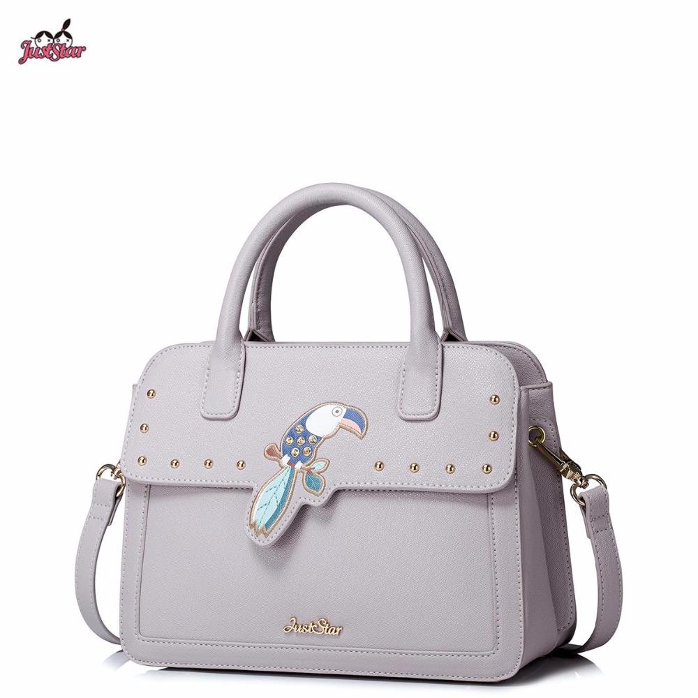 2017 New Just Star Brand Design Embroidery Parrot Rinestone PU Leather Women Lady Girl Handbag Crossbody Shoulder Flap Bags