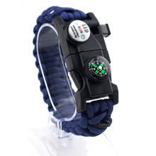 17 in 1 Camping Paracord Armband Touw Multifunctionele LED-verlichting Survival Fluitje Kompas Armband EDC Tool Militaire Emergency