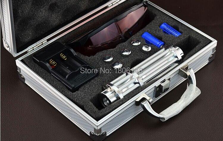 Forte poder militar 2000000 m 200 W 450nm ponteiro laser Azul Lanterna Queima Jogo/madeira seca/preto/ cigarros + Óculos + caixa de Presente