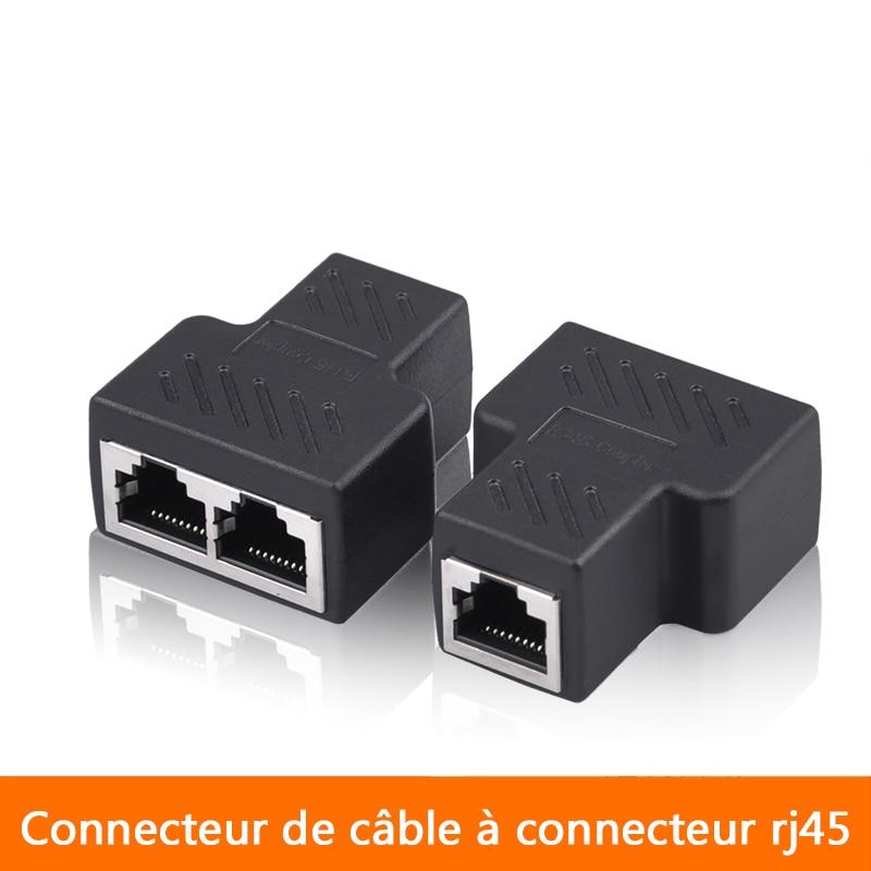 DZ517 RJ45 6 Ethernet Cable LAN Port 1 to 2 Socket Splitter Connector Adapter NI
