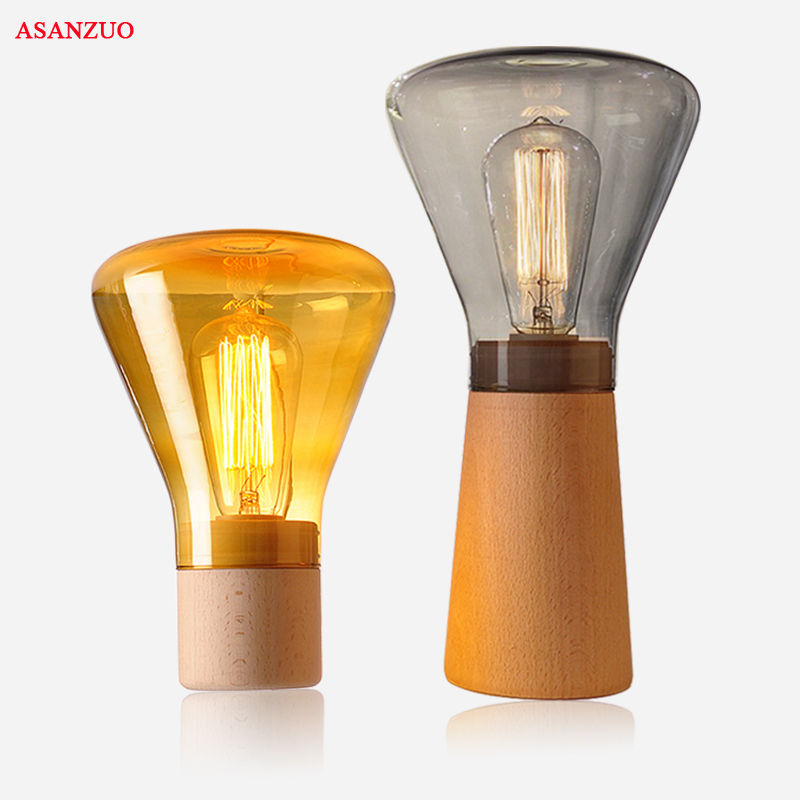 Nordic glass wood table lamp modern amber gray glass shade wood base creative study desk lamp edison bulb bedroom bedside lamp bedroom table lamp modern simple wood stand table lamp with fabric lamp shade desk lamp study lamparas kumastb