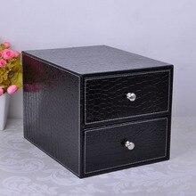 Двойной слой двойной ящик структура дерева кожа стол подачи шкаф ящик для хранения офисной организатор документ крокодиловый черный 214C