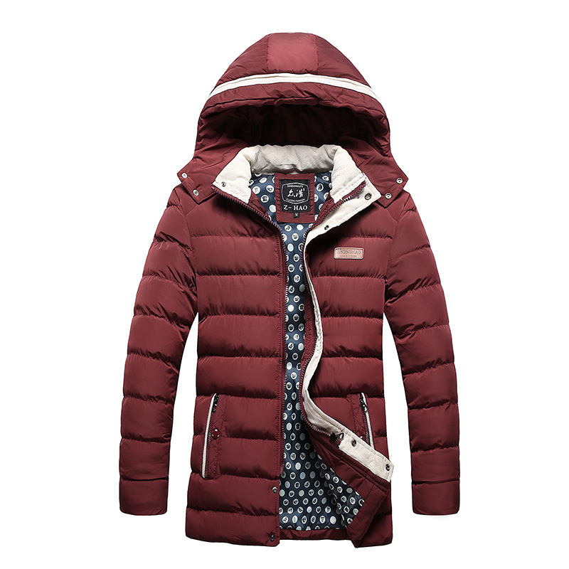 2017 Winter Coat Men quilted black puffer jacket warm fashion male overcoat parka outwear cotton padded hooded coat Size m-3XL