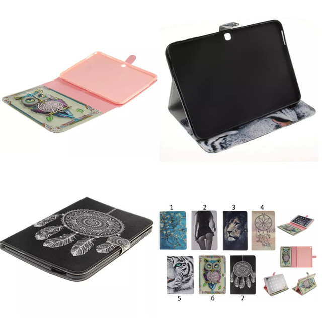"Lion Tiger Stand Card Folio PU Leather+TPU Case Cover For Samsung Galaxy Tab 4 10.1"" T530 T531 T535 Tablet Fundas Coque"