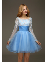 2016 Real Light Blue Short Long Sleeves Short Tulle Homecoming Dresses Appliques Beaded Sexy Open Back