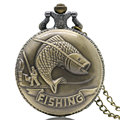 Steampunk Retro Bronze Fishing Angling Quartz Pocket Watch Necklace Pendant Men Women Gift 2016