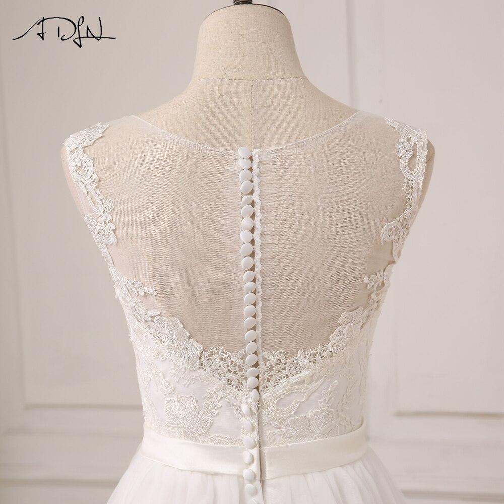 ADLN Ny Ankomst Billiga Bröllopsklänningar O-Neck Lace Tulle Boho - Bröllopsklänningar - Foto 6