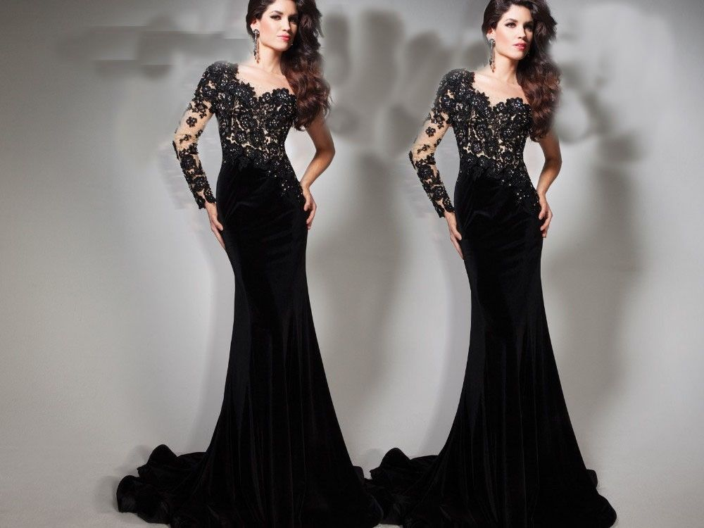 Fashion 2015 Sweetheart Black Lace Long Prom Dresses Long Sleeve