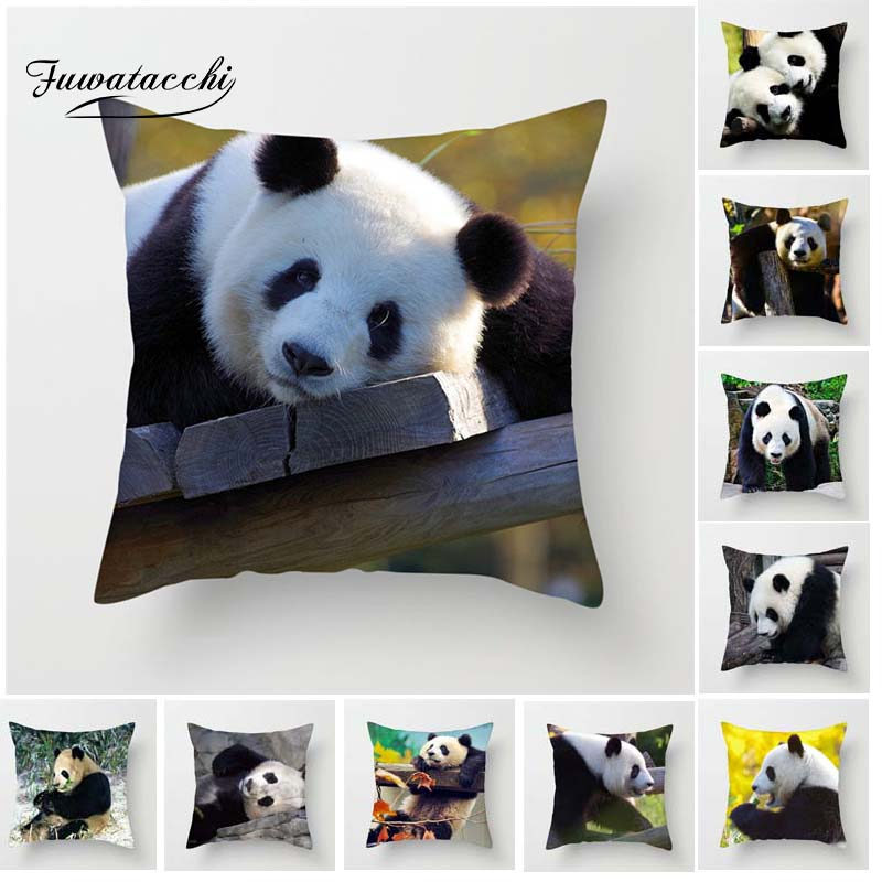 Fuwatacchi Cute Fat Real Panda Cushion Cover For Sofa Home Decor National Treasure Throw Pillow Cover